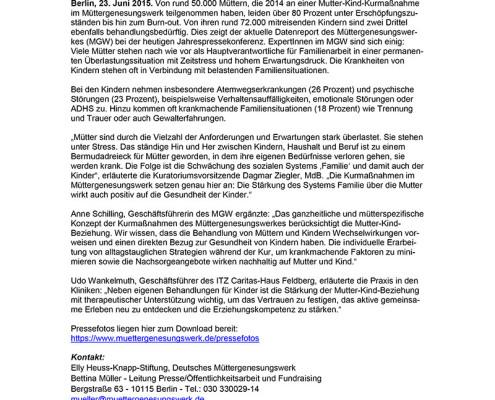 Pressemitteilung: Kranke-Muetter-kranke-Kinder